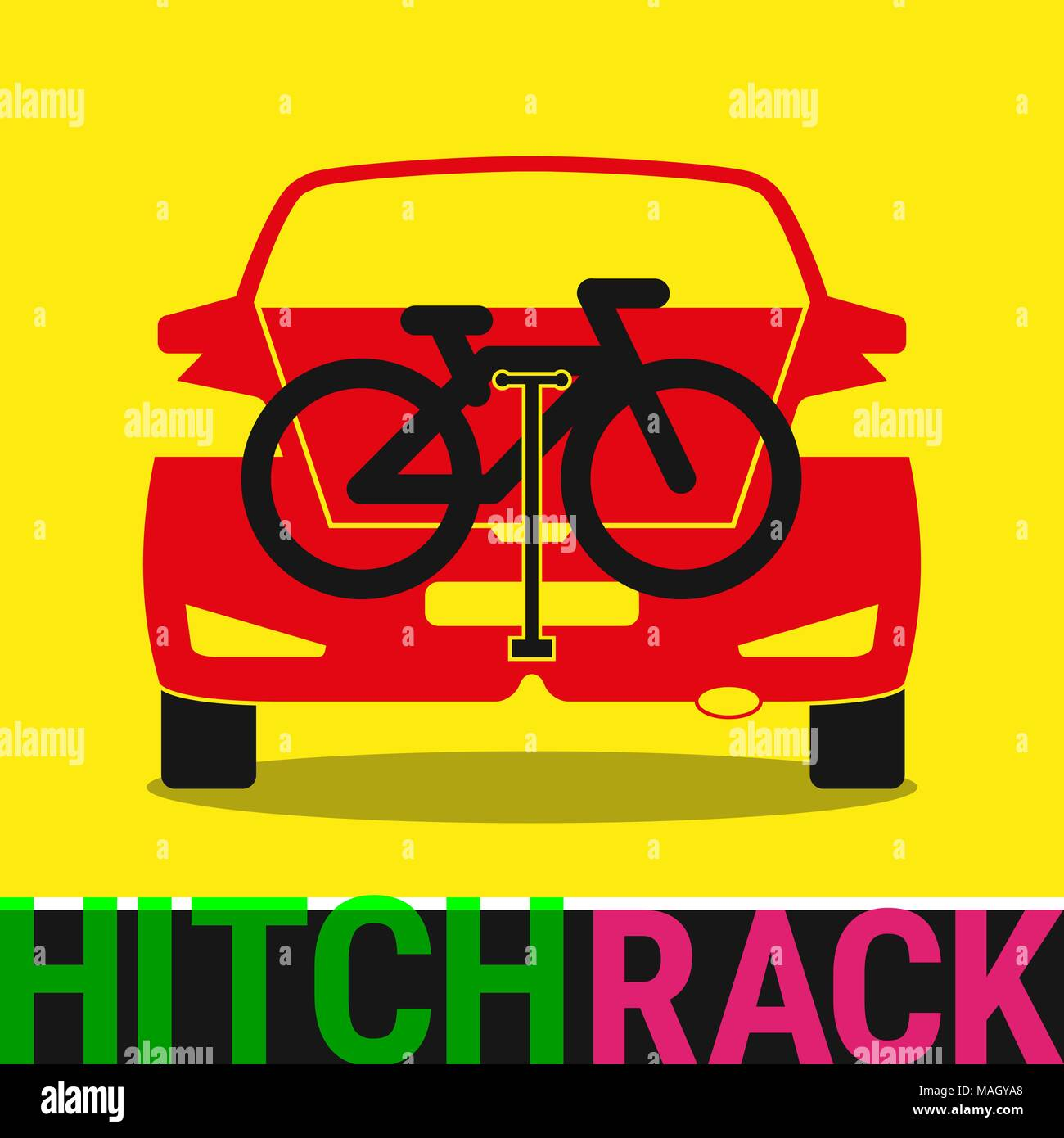 Hitch Bike Rack. Bicycle Rack Silhouette Illustration - Stock Vector