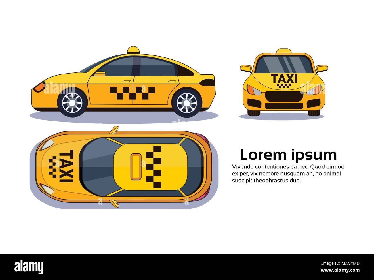 Taxi Car On White Background Isolated Top, Side And Front View Over Copy Space - Stock Vector