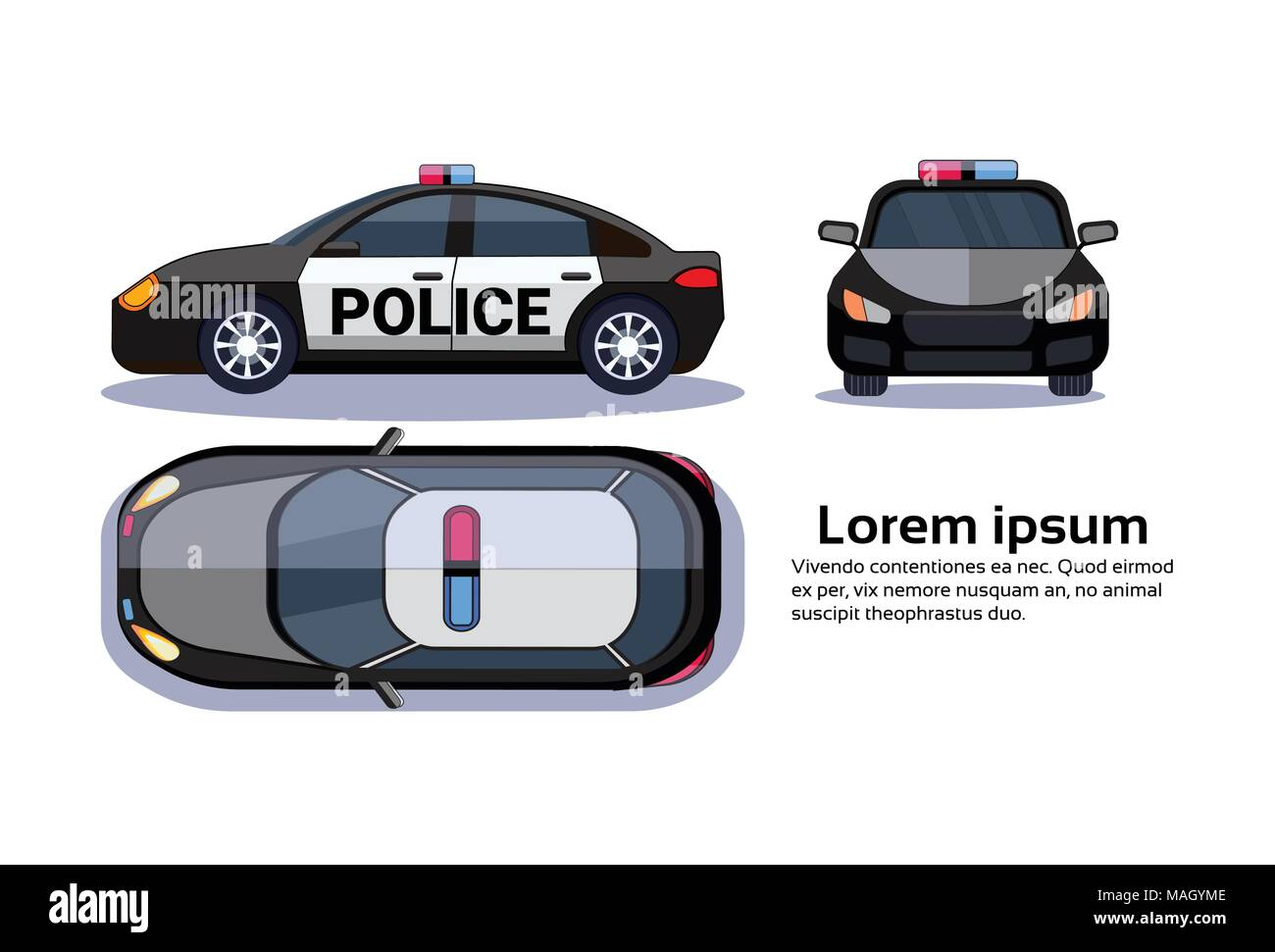 Police Car On White Background Isolated Top, Side And Front View Over Copy Space - Stock Vector