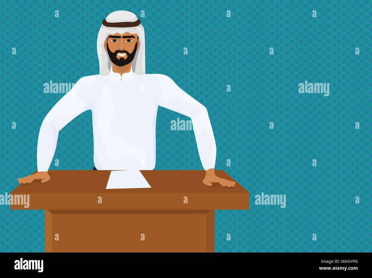 Arab Business Man Or Politician Leading Speech On Conference Or Meeting Presentation Standing At Tribune - Stock Image