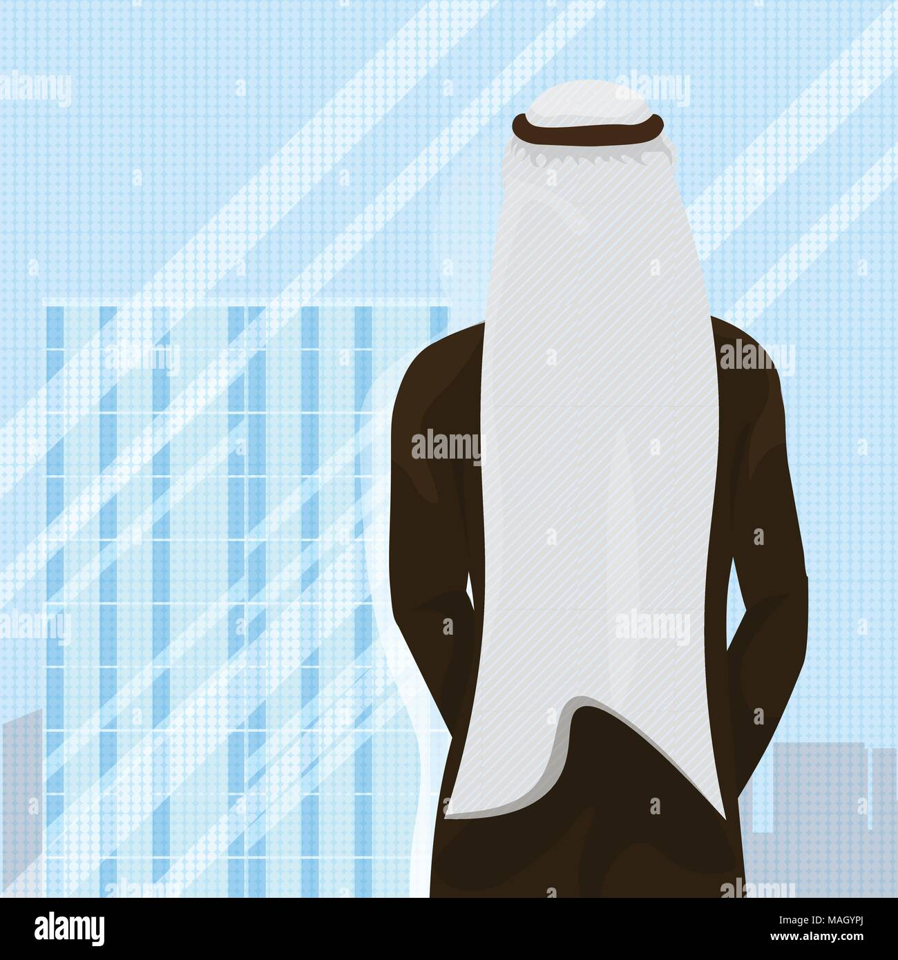 Back Rear View Of Arab Man In Traditional Clothes Looking In Window - Stock Vector