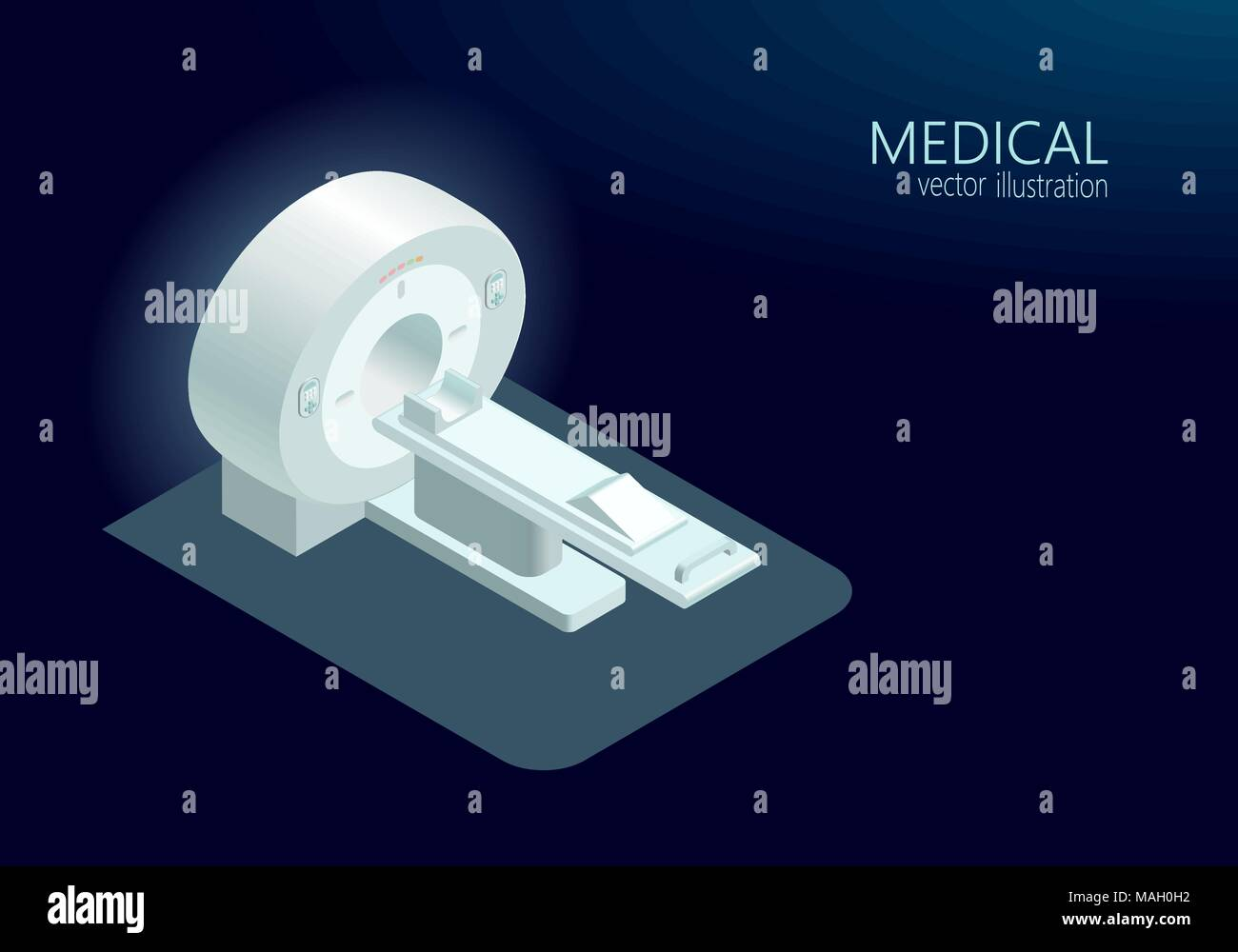 MRI computed tomography concept magnetic resonance imaging scanner vector illustration isometric flat 3d blue glowing color - Stock Image