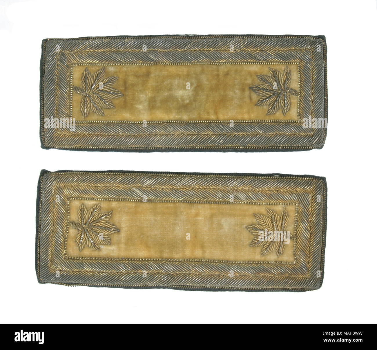 American Civil War: Union Army, A pair of shoulder straps for a Lt. Colonel of Cavalry in the Union Army - Stock Image