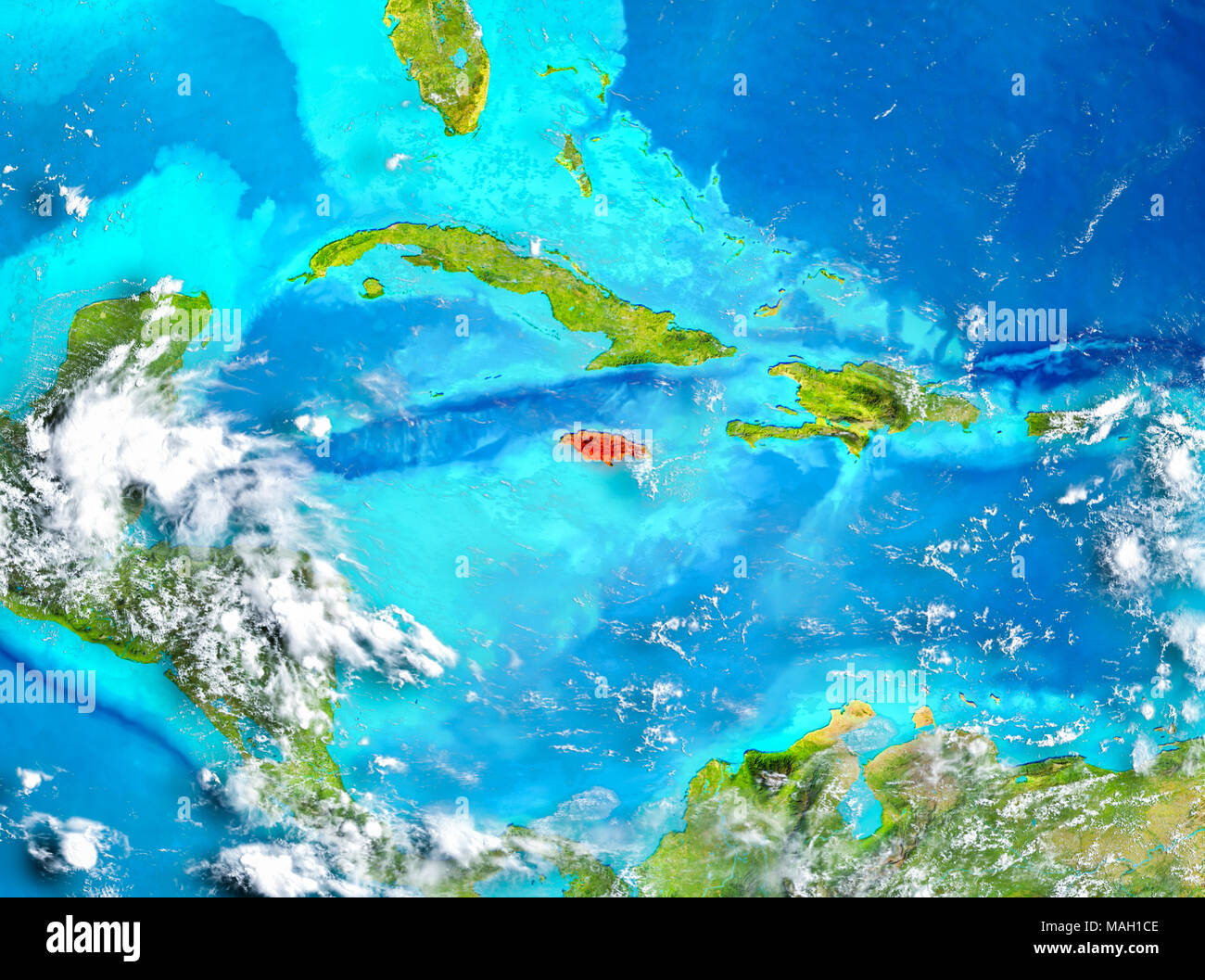 Jamaican map stock photos jamaican map stock images alamy jamaica highlighted in red on planet earth 3d illustration elements of this image furnished gumiabroncs Images