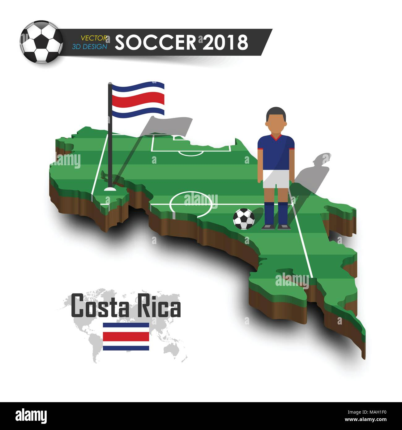Costa rica national soccer team . Football player and flag ... on la costa golf course map, golf in china map, golf in bermuda map, golf in spain map, golf in ireland map, golf in liberia costa rica, golf in jamaica map, golf in guanacaste costa rica, golf courses costa rica map, golf in scotland map,
