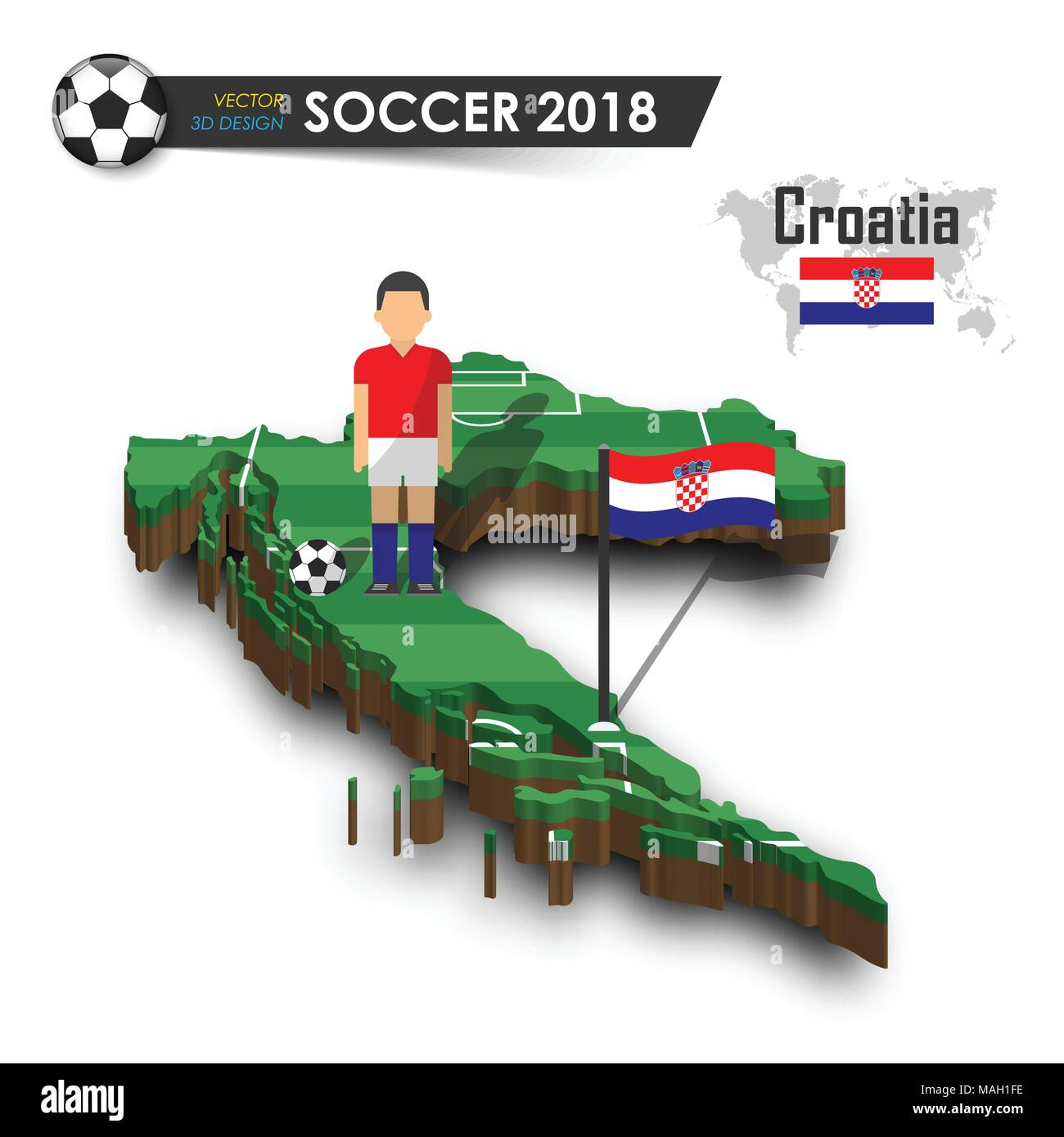 Croatia national soccer team . Football player and flag on 3d design  country map . isolated background . Vector for international world  championship t 94824149b