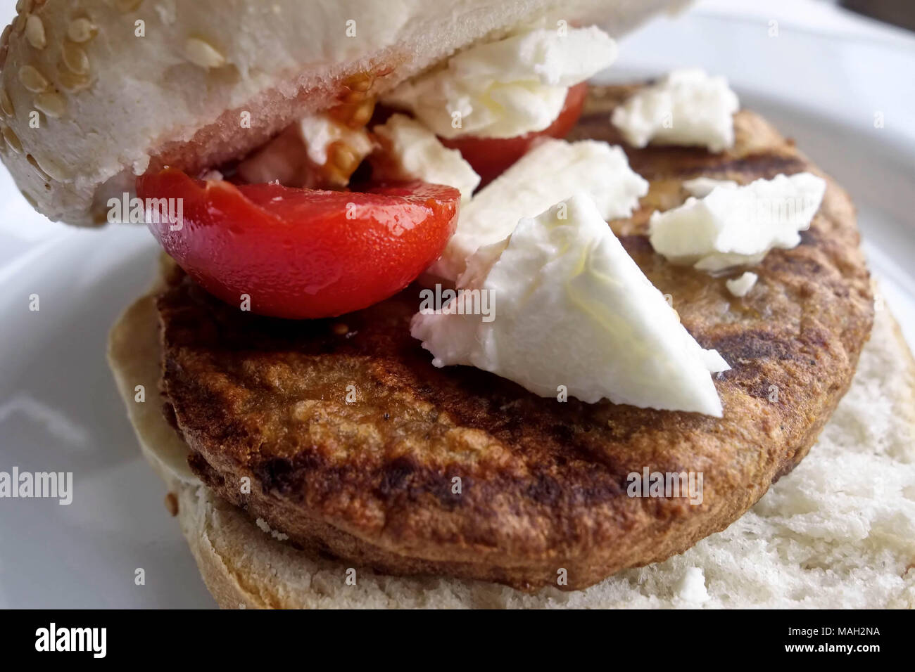 Veggie Burger with Feta Cheese - Stock Image