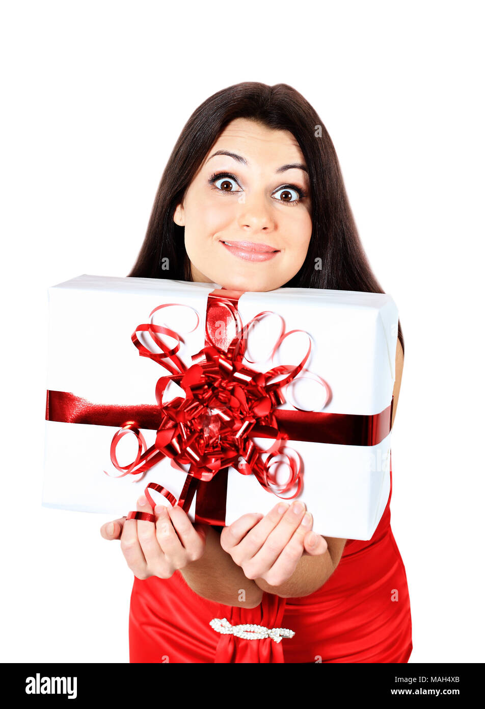 eautiful young woman with big gift box - Stock Image