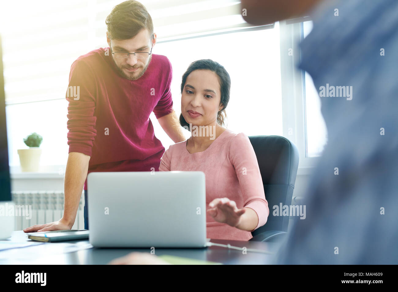 Business colleagues analyzing online report - Stock Image