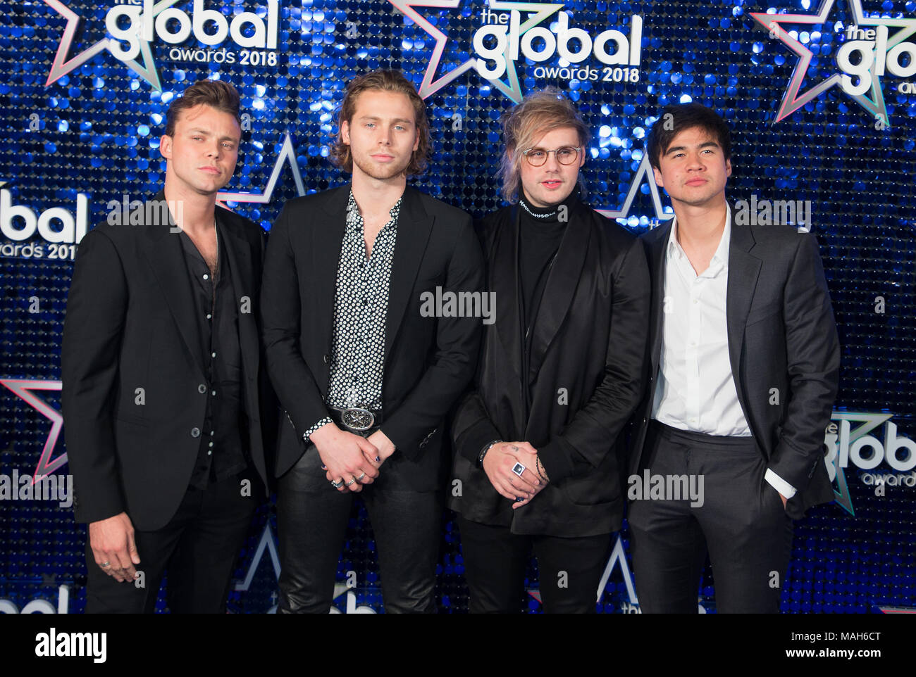 Global Awards 2018 At The Eventim Apollo Hammersmith Arrivals Featuring Ashton Irwin Luke Hemmings Michael Clifford Calum Hood 5 Seconds Of Summer