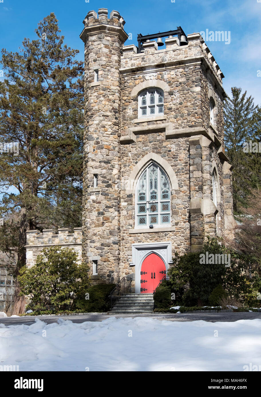 Saint Mary the Virgin Episcopal Church on South Greeley Avenue in downtown Chappaqua,New York. Stock Photo