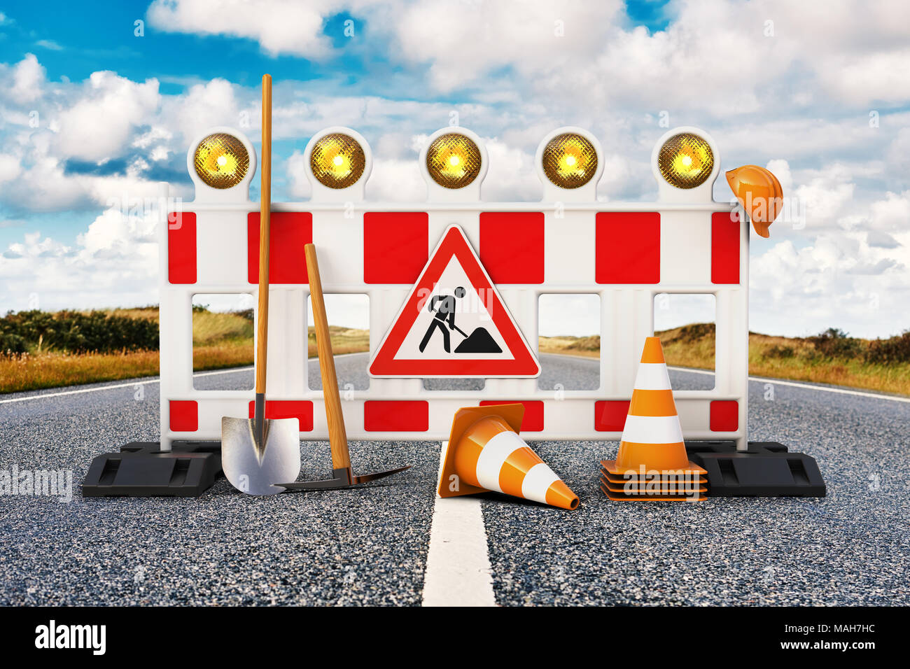 Street barrier with shovel, traffic sign, traffic cone and safety helmet on the road 3D rendering Stock Photo