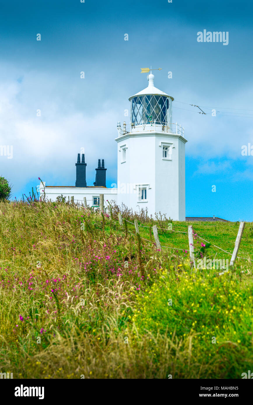 Lizard Lighthouse, a grade II listed building, standing on the most southerly part of England on the Lizard Point penisular - Stock Image