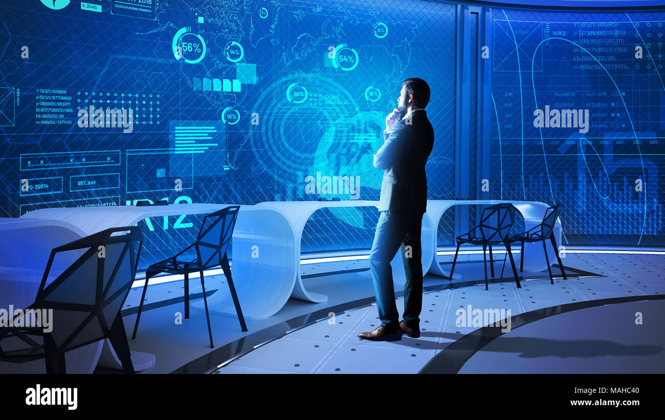 Data scientist looking at the transparent screen and thinking - Stock Image