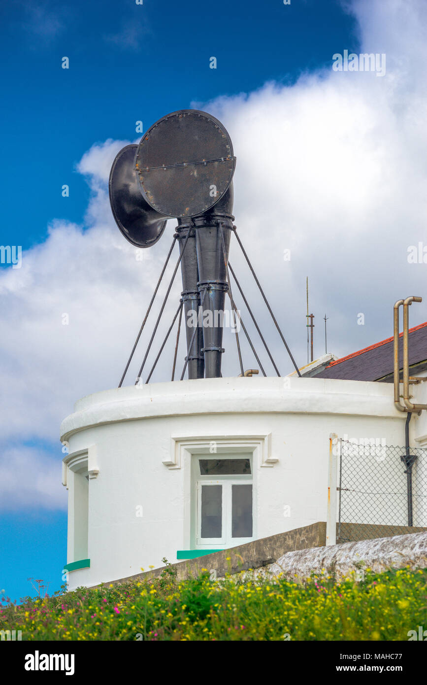 Detail of Lizard Lighthouse, showing the fog horns which warn ships in bad visibility of  the rocky Lizard Point penisular - Stock Image