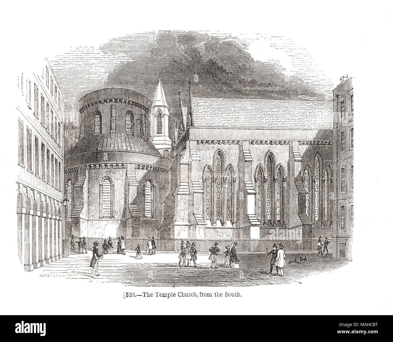 The Temple Church, City of London, England, 19th century scene from the South - Stock Image