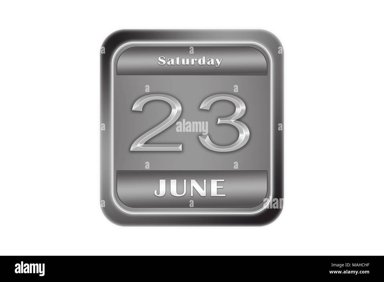 Date 23 June, Saturday written on a metal plate - Stock Image