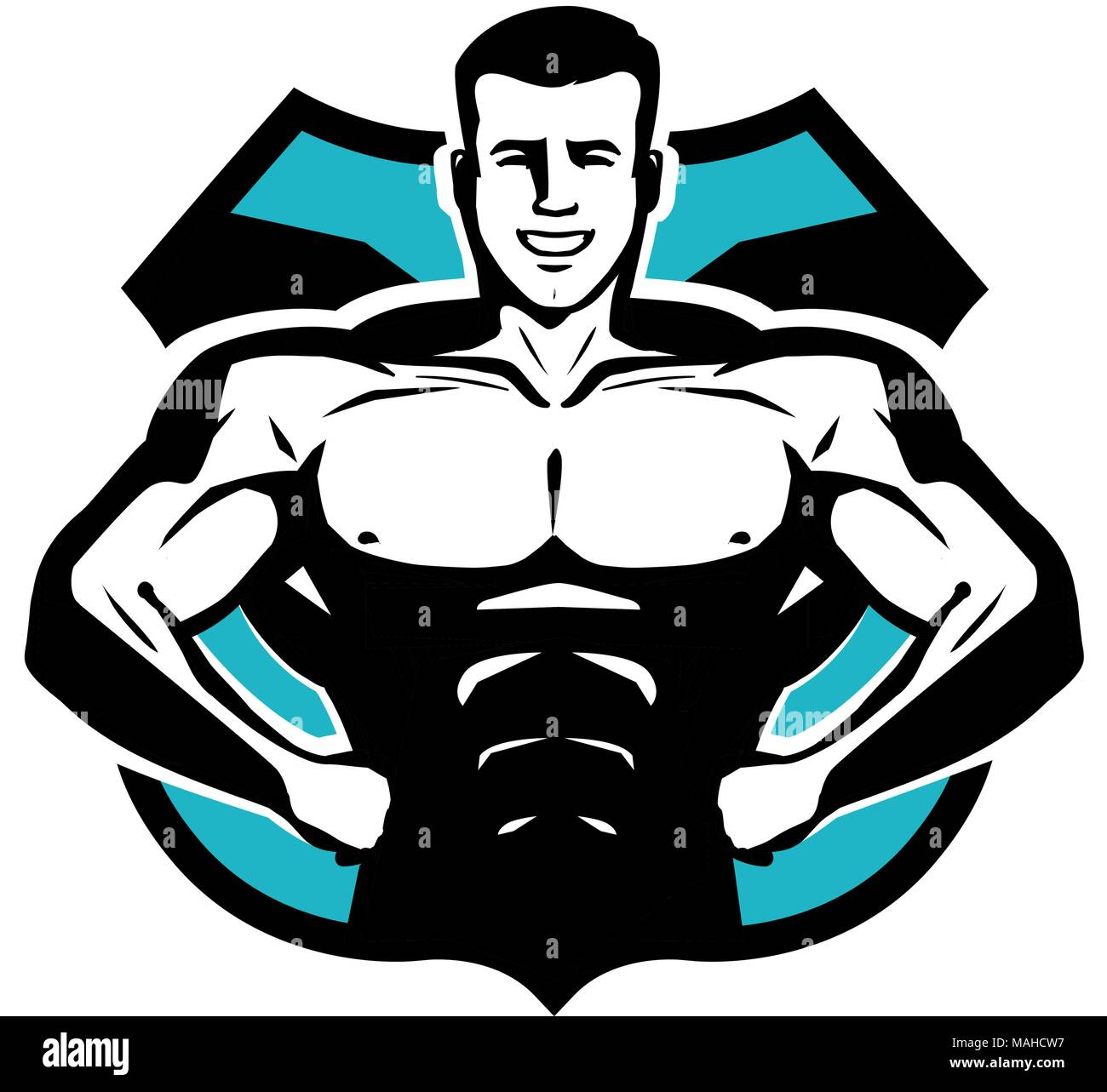 Gym Bodybuilding Sport Logo Or Label Happy Bodybuilder With Muscular Body Vector Illustration Stock Vector Image Art Alamy