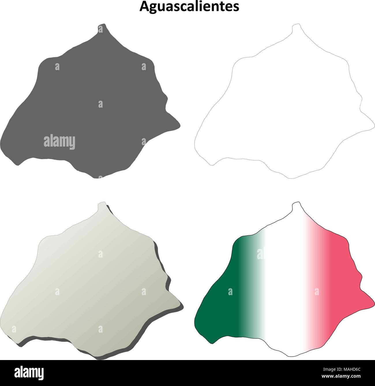 Aguascalientes blank outline map set Stock Vector Art Illustration