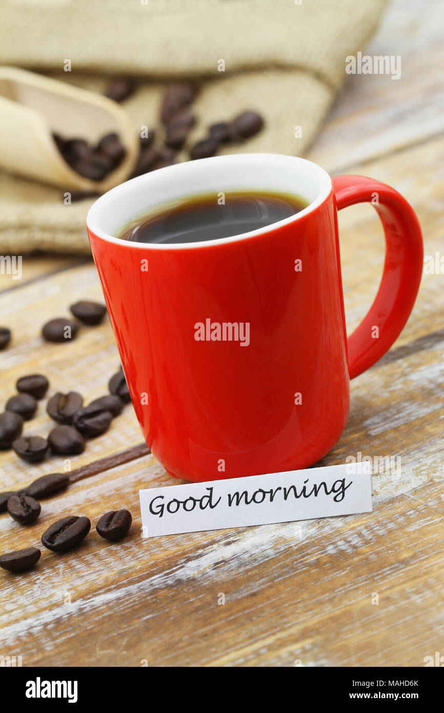 Good Morning Card With Red Mug Of Coffee And Scattered Coffee Beans