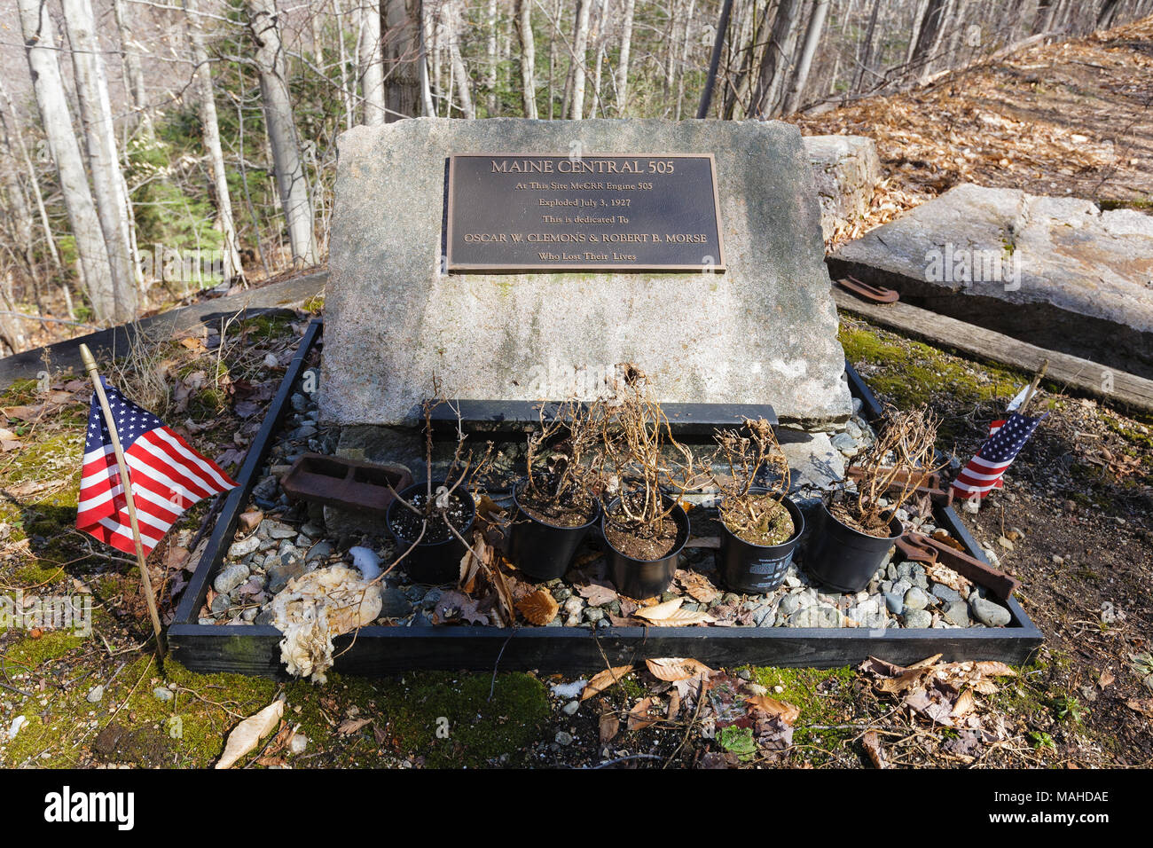 Crash site of the Maine Central Railroad Engine 505 on July 3, 1927 along the Maine Central Railroad in Crawford Notch of the New Hampshire. - Stock Image