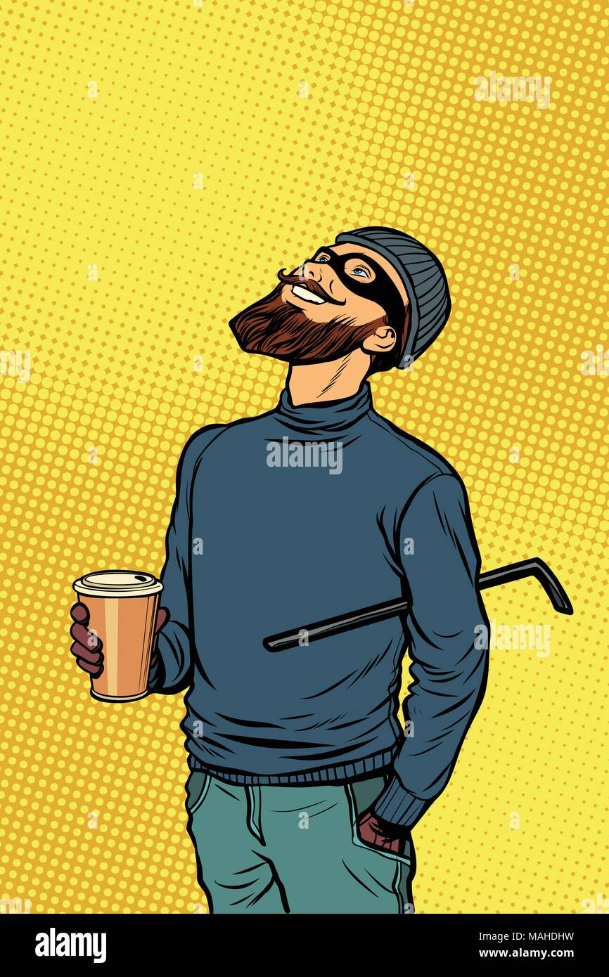 Robber thief hacker drinks coffee and looks up - Stock Vector