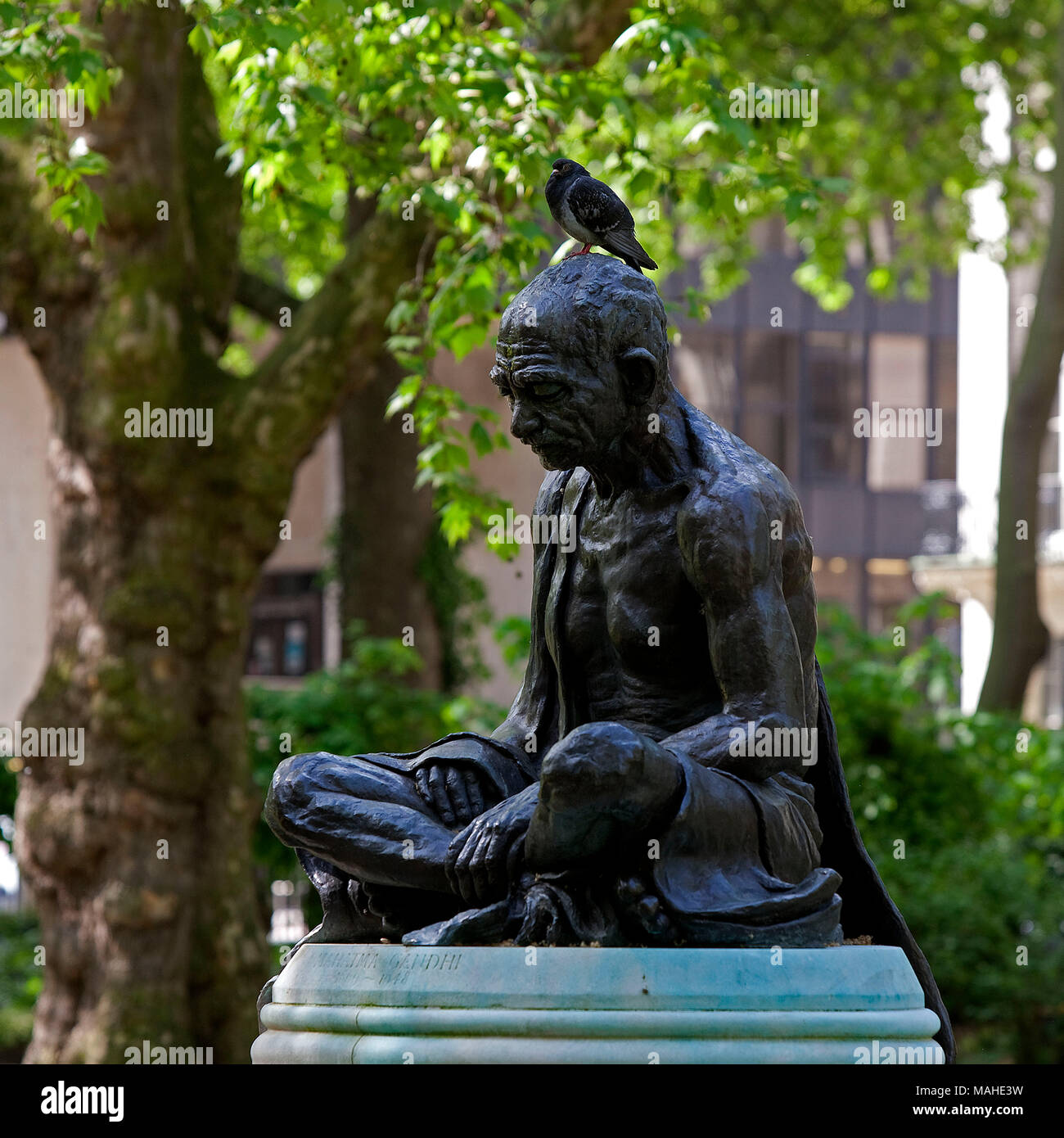 Mahatma Gandhi by Fredda Brilliant (1903 - 1999)	  The principal creator of Indian indepence Mohandas Karamchand Gandhi sits crosslegged in a prayer i - Stock Image