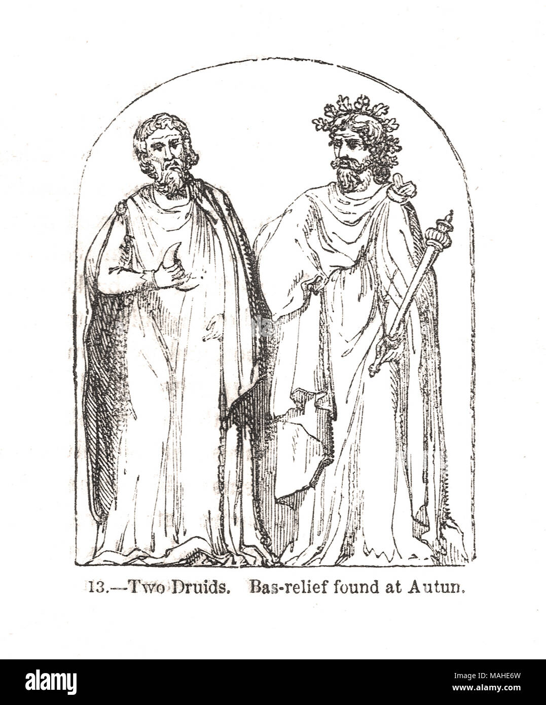 Two druids,  Bas-relief found at Autun - Stock Image