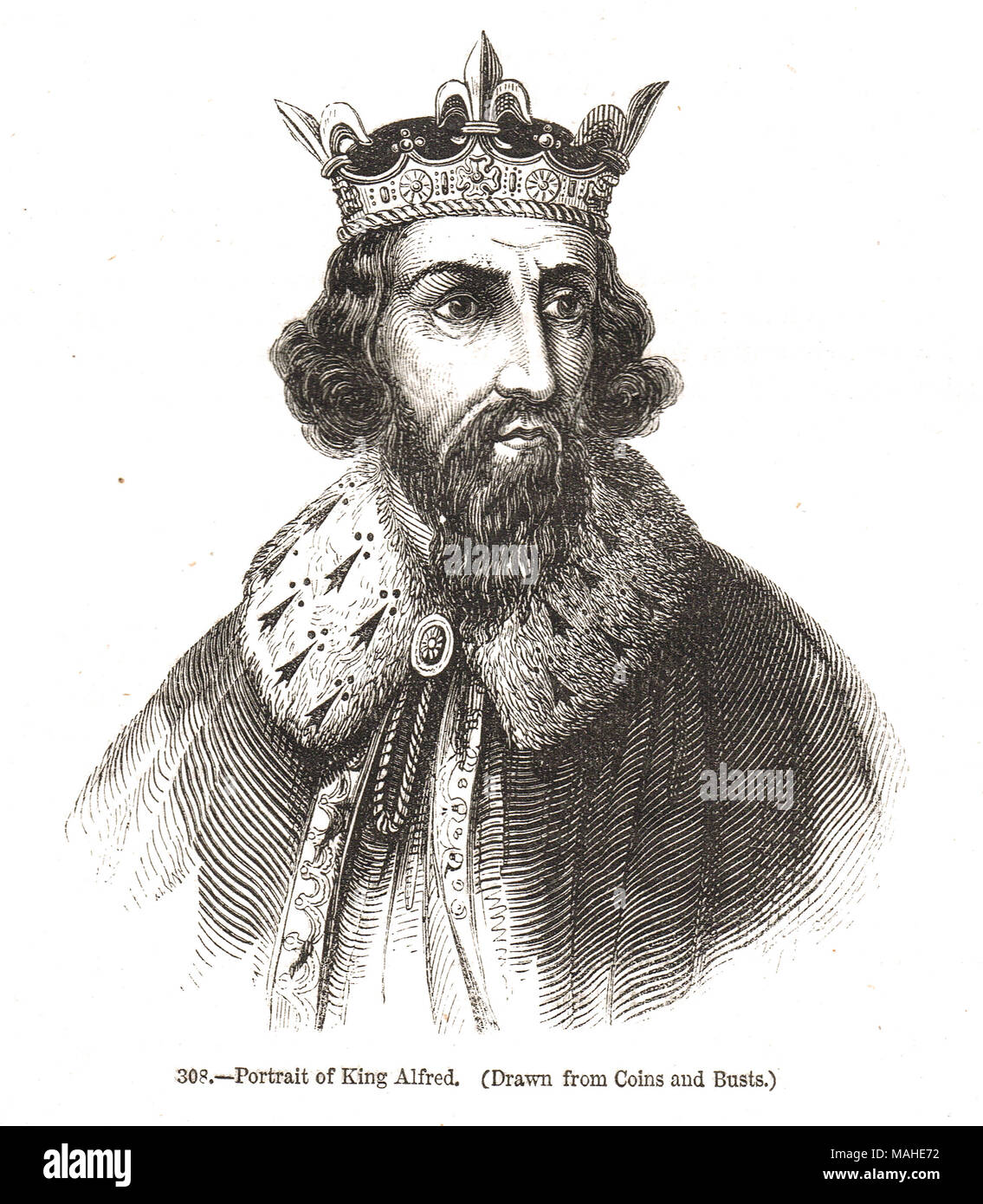 King Alfred the Great 9th century King of Wessex - Stock Image
