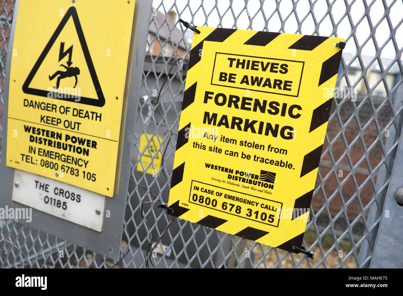 Property Thieves Be Aware warning sign Forensic Marking protection UK - Stock Image