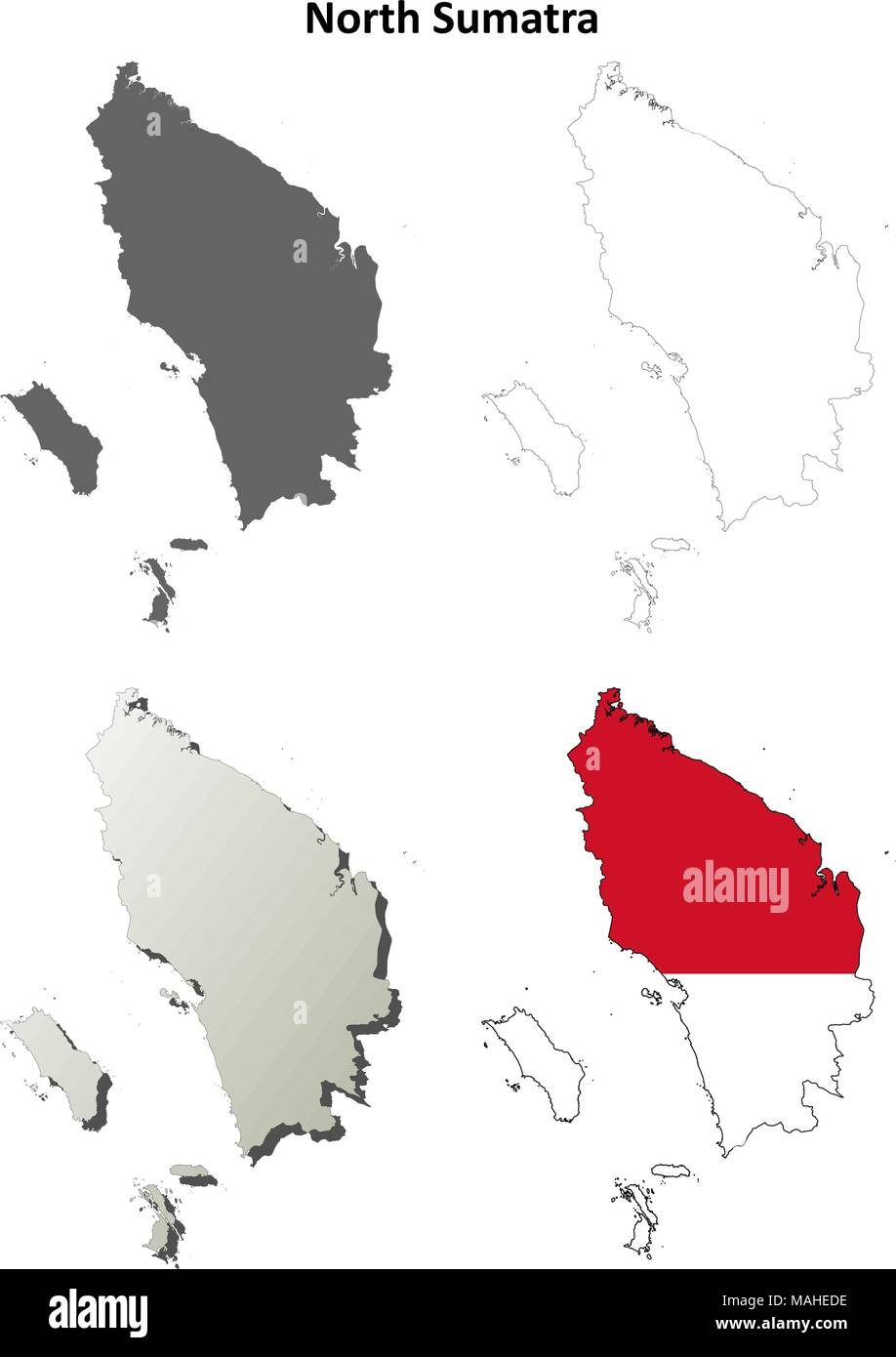 North Sumatra blank outline map set - Stock Vector