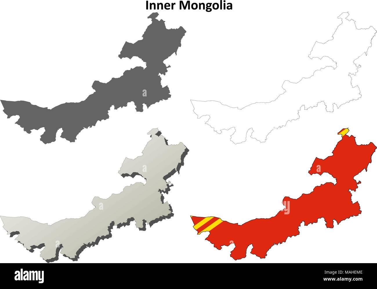 Inner Mongolia blank outline map set Stock Vector