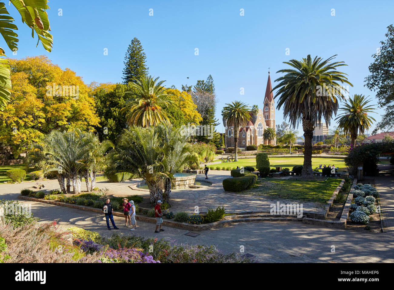 Parliament Garden and Christ Church (Christus Kirche) in WIndhoek, Nambia, Africa Stock Photo