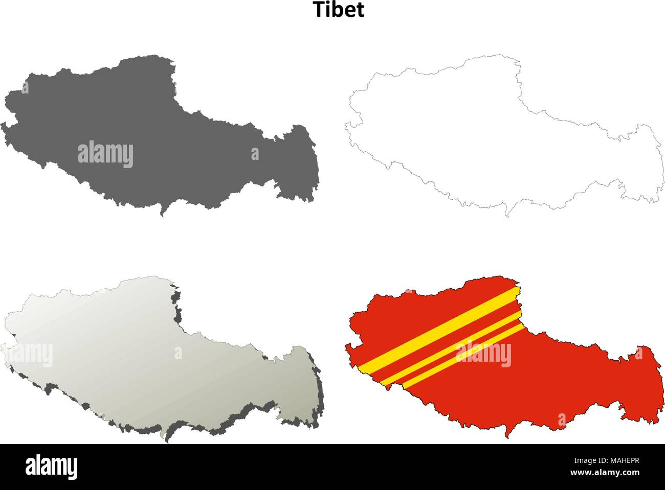 Tibet outline map set - Chinese version - Stock Vector