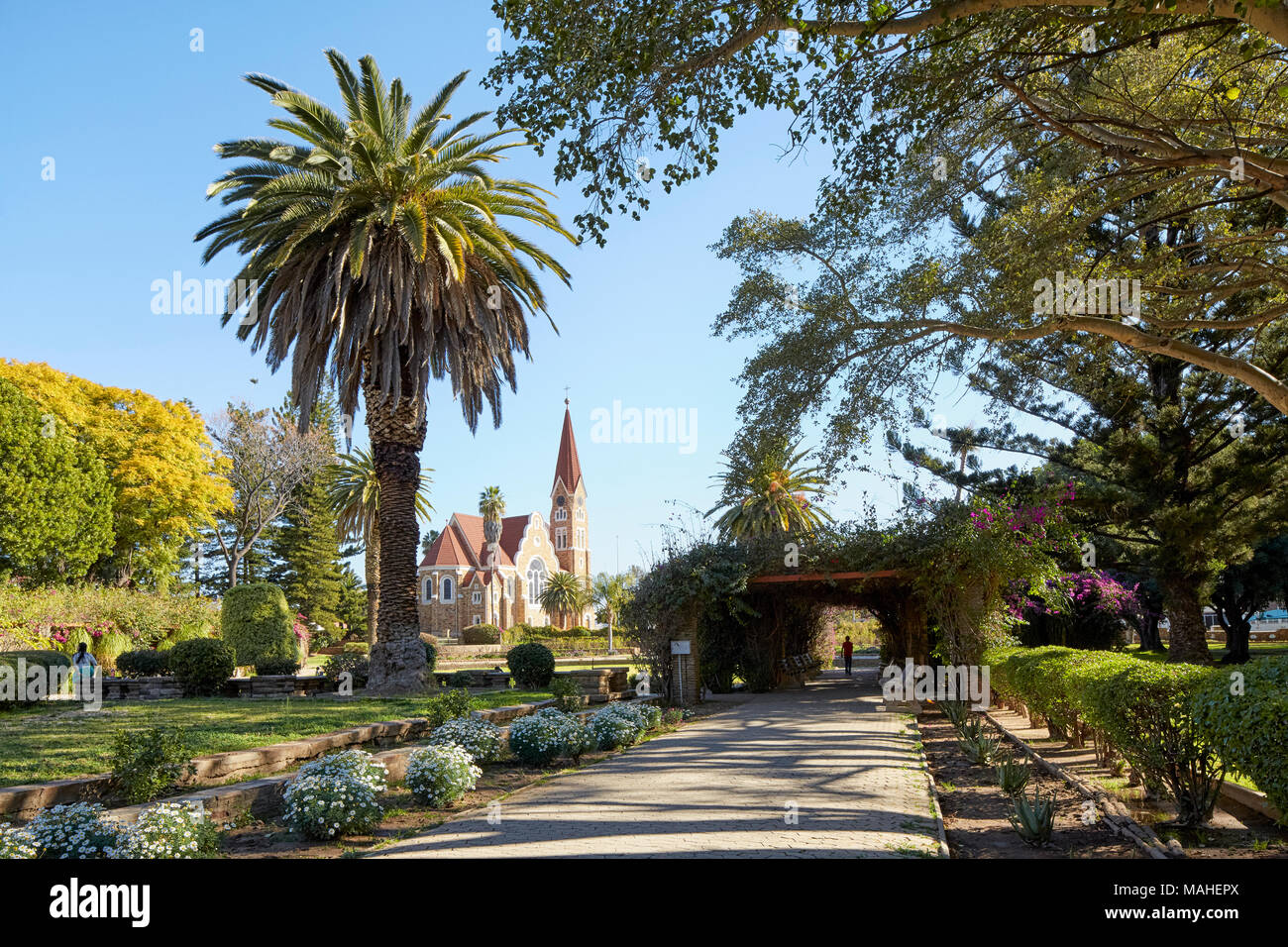 Parliament Garden and Christ Church (Christus Kirche) in WIndhoek, Nambia, Africa - Stock Image