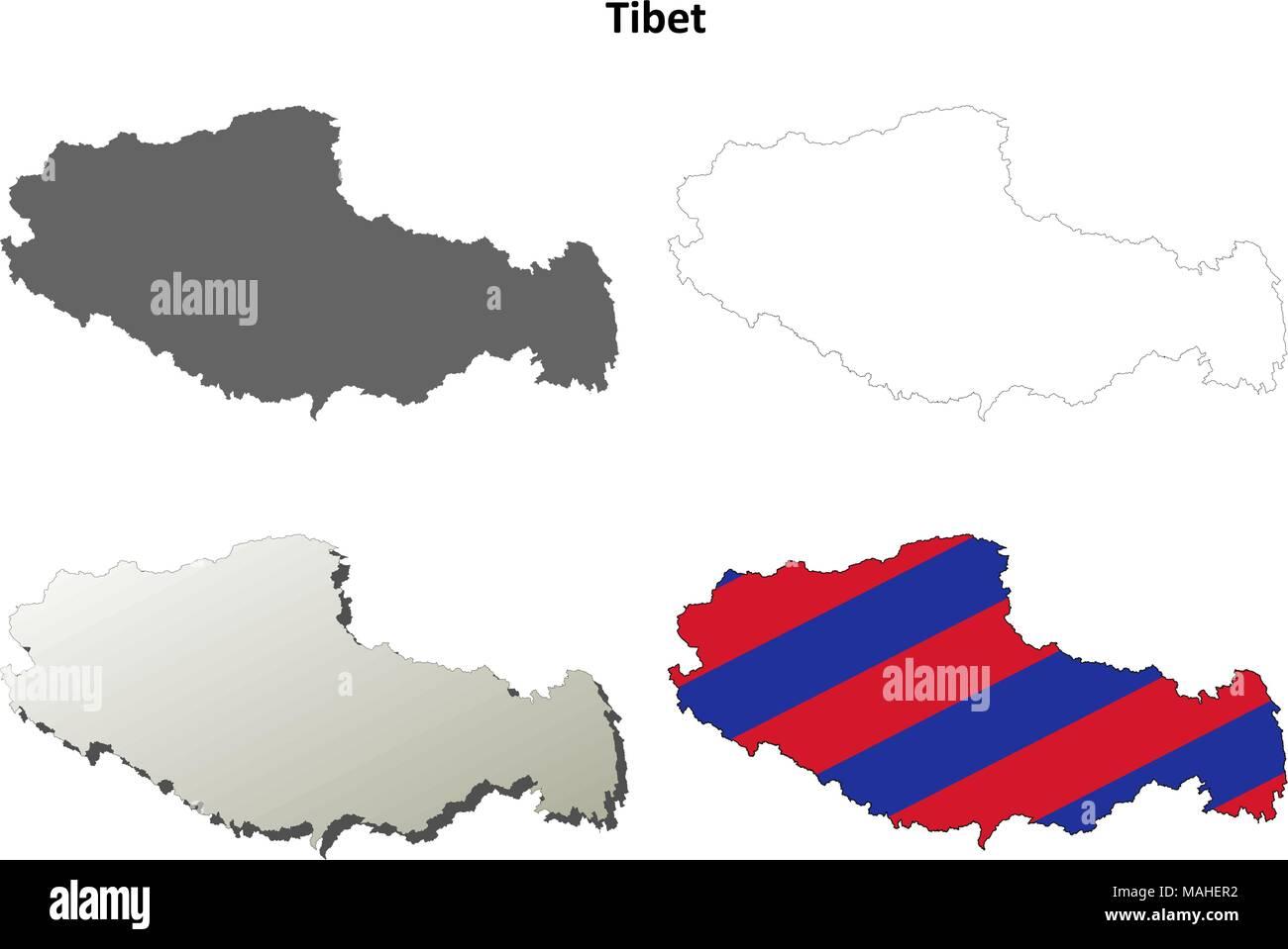 Tibet outline map set - Tibetan version - Stock Vector
