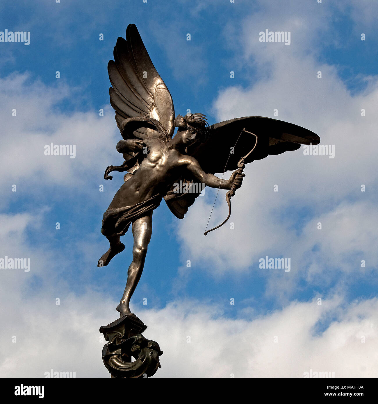 Eros by Sir Alfred Gilbert (1854 - 1934)  Perhaps London's best-loved statue Eros was orginally called Shaftesbury Memorial, commemorating the famous  - Stock Image
