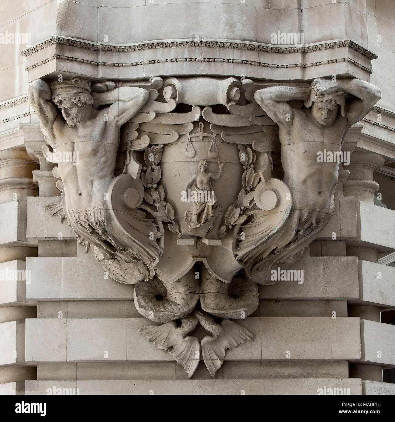 Institute of Chartered Accountants: Corbel by Harry Bates  (1850 - 1899)  Several sculptors worked on the wall reliefs of this fine building tucked aw - Stock Image