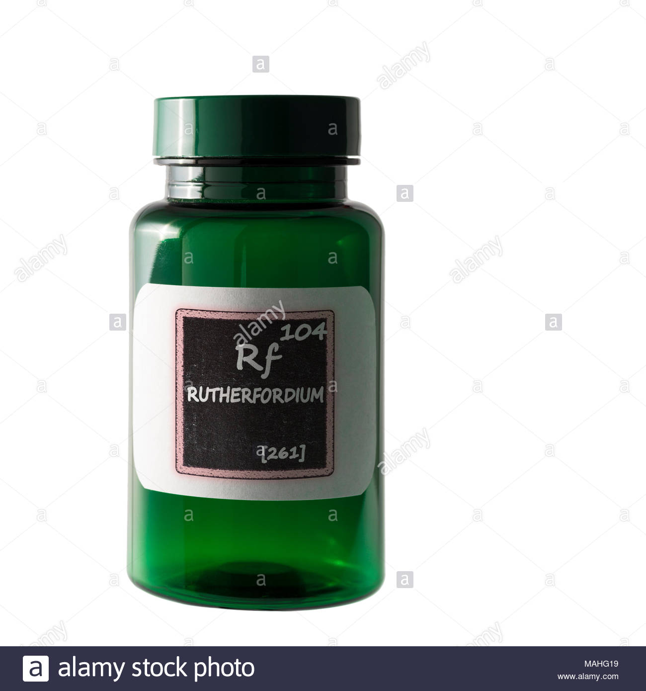 Rutherfordium, periodic table details  shown on bottle label. Stock Photo