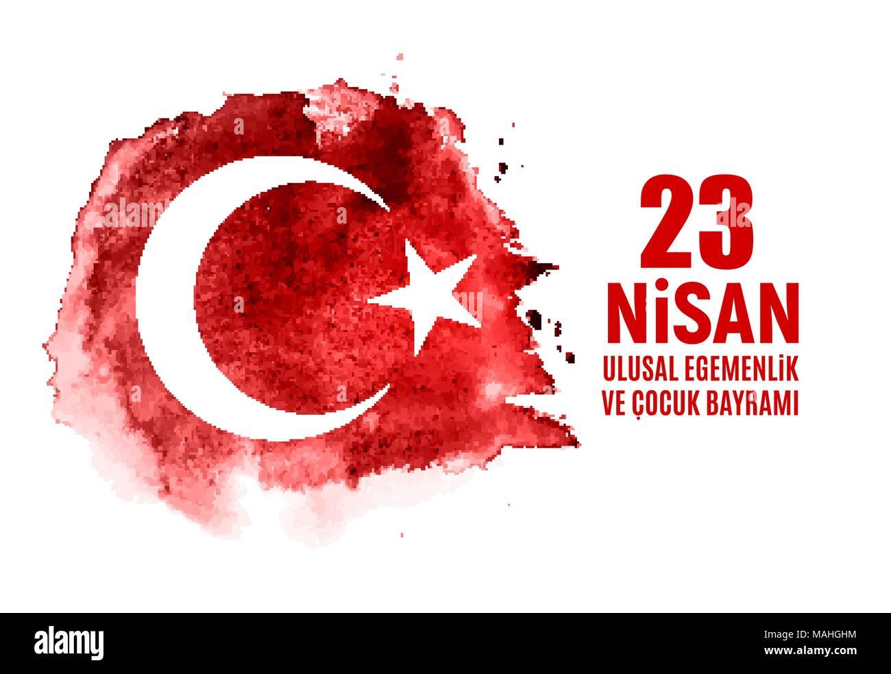 23 April Children's day (Turkish Speak: 23 Nisan Cumhuriyet Bayrami). Vector Illustration - Stock Image