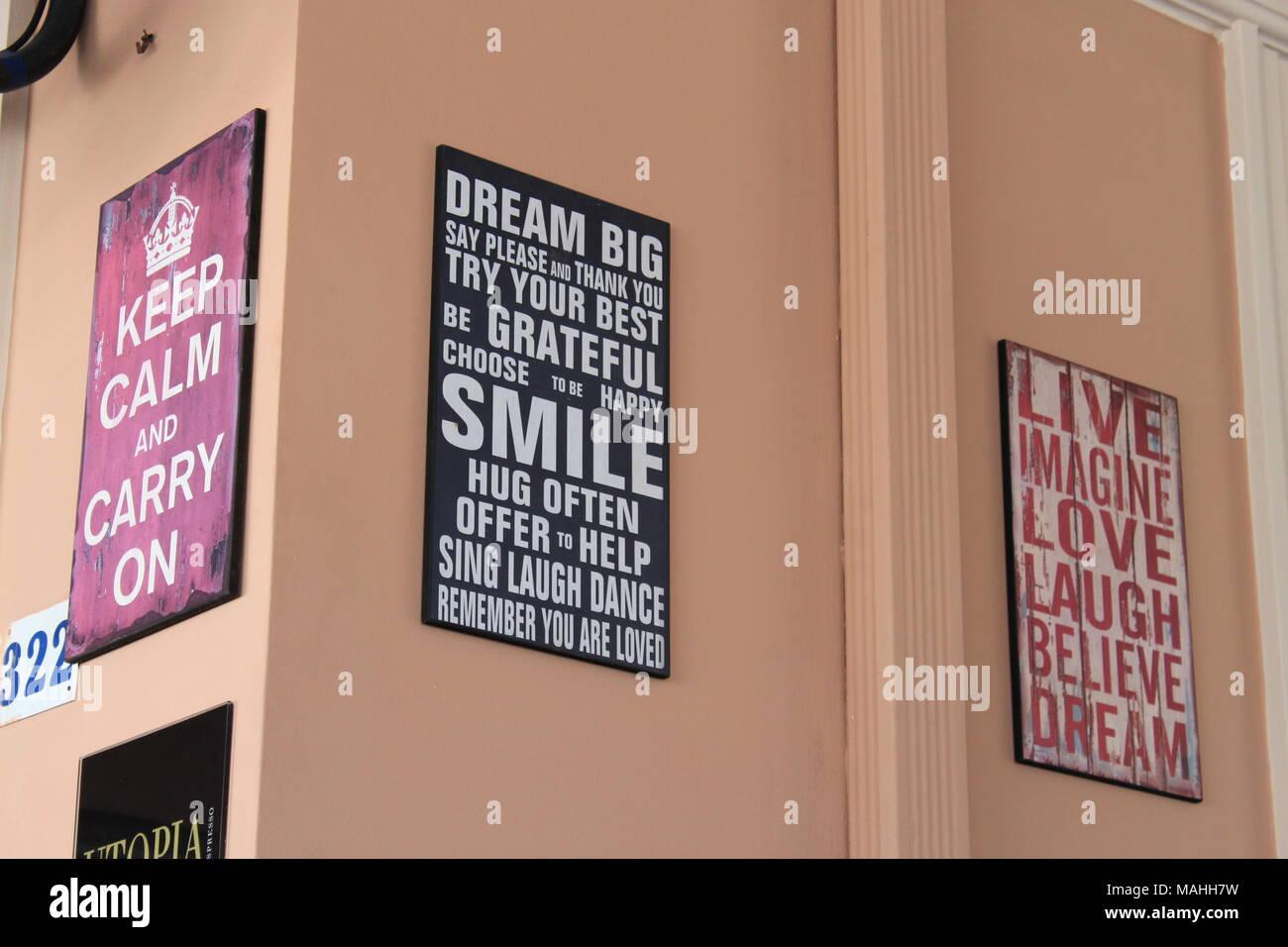 Inspirational life quotes spotted on a taverna wall on Zakynthos (Zante) Island, Greece, ZANTE, PETER GRANT - Stock Image