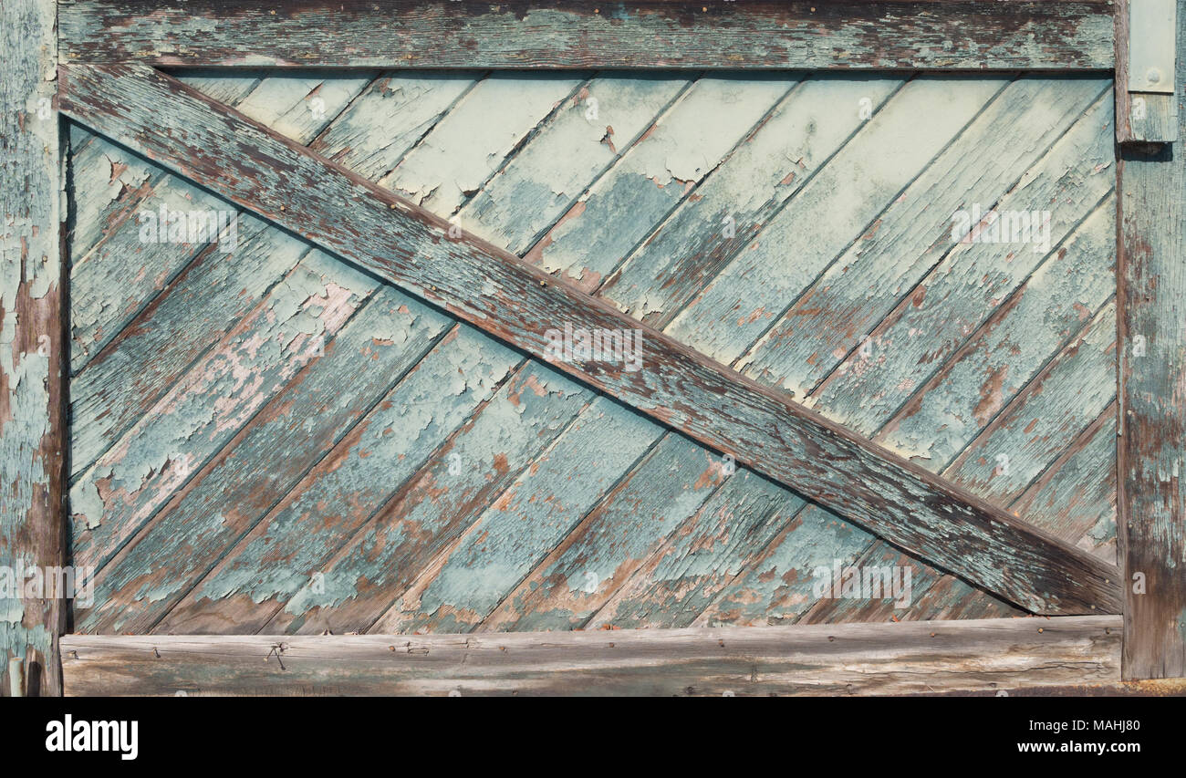 Close up of a weathered wooden batten door with a z-brace and peeling paint. & Close up of a weathered wooden batten door with a z-brace and ...