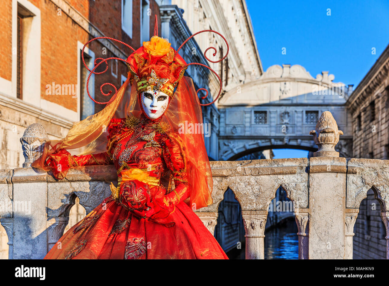 Venice, Italy. Carnival of Venice, beautiful mask at the Bridge of Sighs. Stock Photo