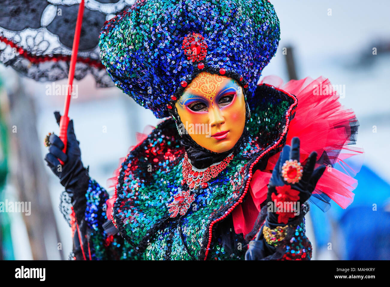 Venice, Italy. Carnival of Venice, beautiful mask at St. Mark's Square. - Stock Image