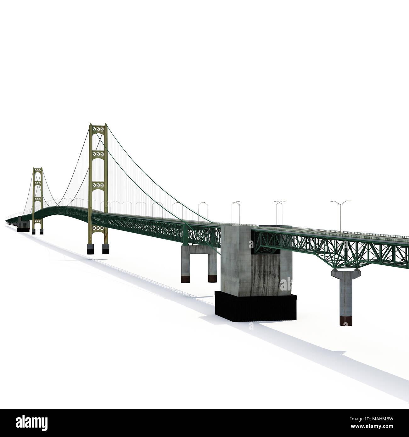 Mackinac Bridge Isolated on white. 3D illustration - Stock Image