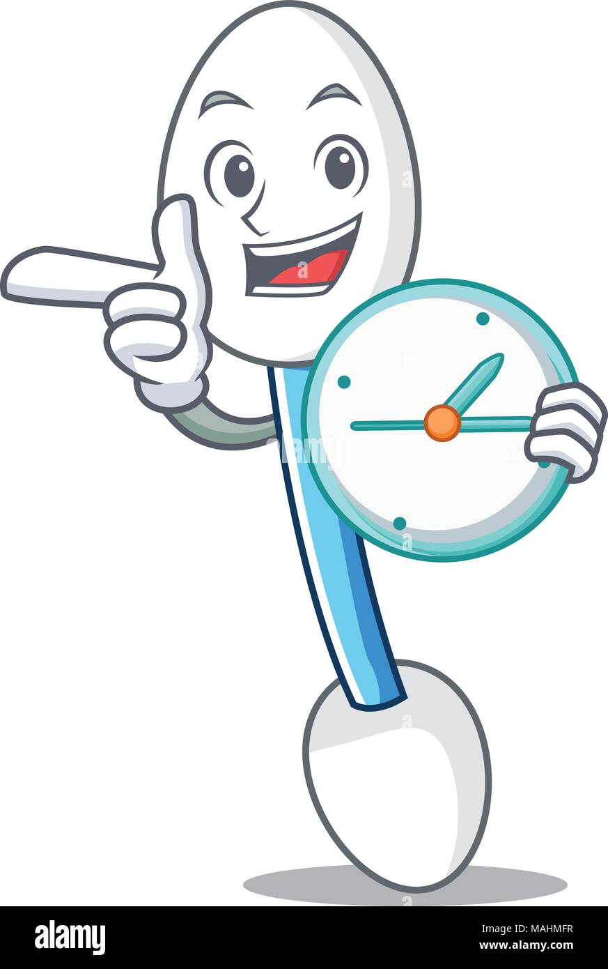 Clock cotton swab character cartoon - Stock Vector
