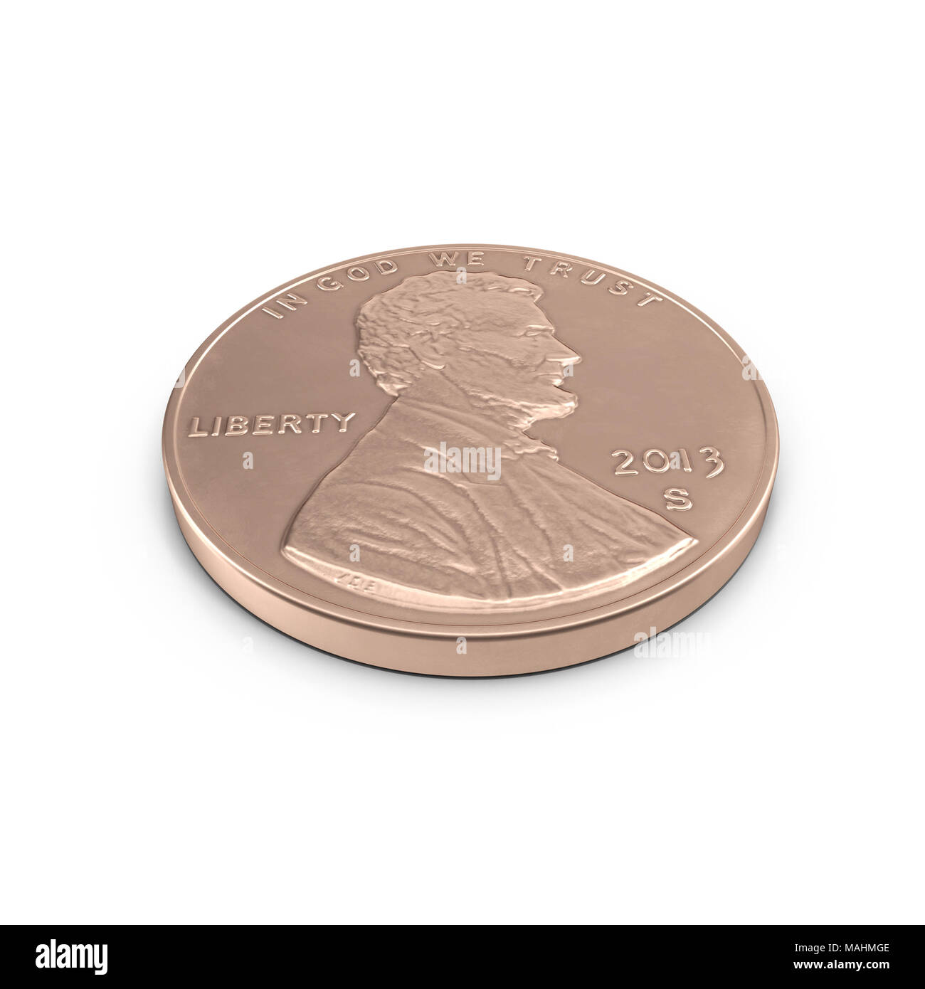 United States Lincoln Penny isolated over white. 3D illustration, clipping path Stock Photo