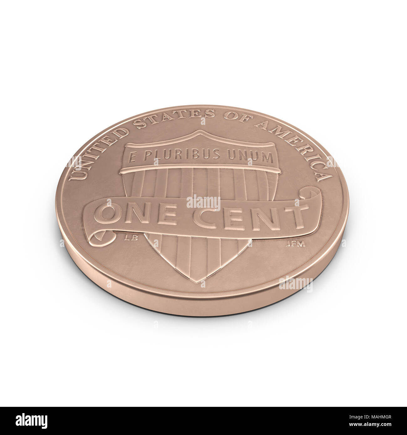 One Penny coin isolated over white. 3D illustration, clipping path Stock Photo