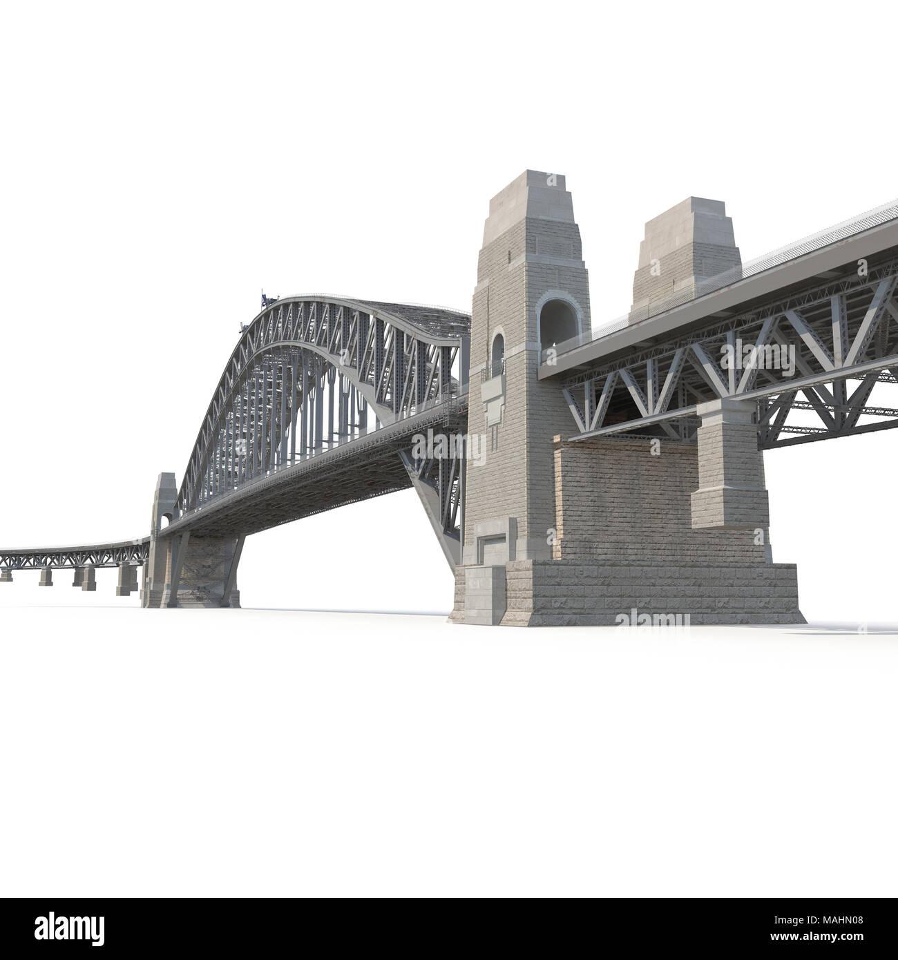 Sydney Harbour Bridge on white. 3D illustration - Stock Image