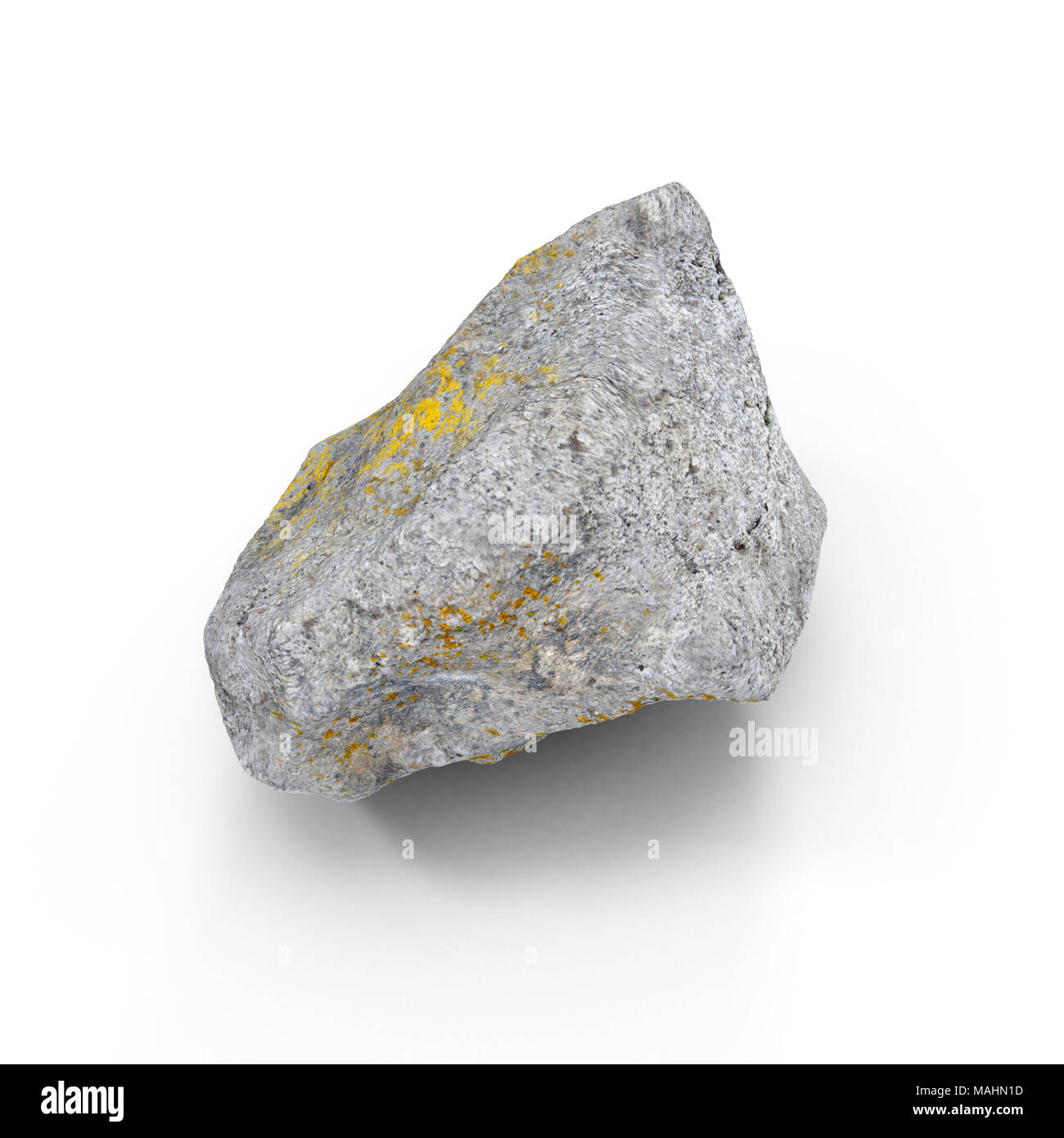 Stone isolated on white. 3D illustration, clipping path - Stock Image